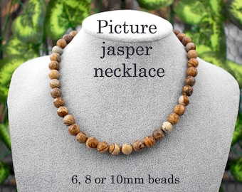 Neutral Colors Silver-Plated Metal Picture Jasper Gemstone Necklace Earthtone Pendant ME-115 Monocromatic Colors Matching Earrings