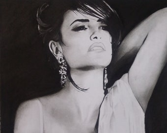 Portrait au graphite Penélope Cruz