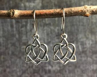 Celtic Goddess Earrings \u2022 Orange Triskelion Wire Earrings \u2022 Handcrafted Earrings