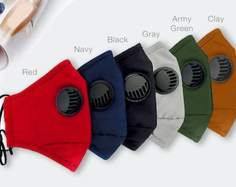 Adjustable Face Mask with Filter   Mask with nose wire   Color Mask   Vent Mask with Filter    Washable Cotton Mask with Valve