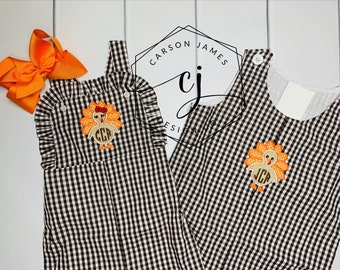 Monogram Turkey Outfit for Baby Toddler Kids Fall Romper Jumper Longalls Sibling Matching for Halloween and Thanksgiving