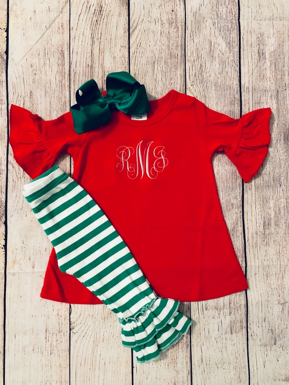 Christmas is all about Jesus monogrammed shirt and ruffled leggings newborn toddler girls