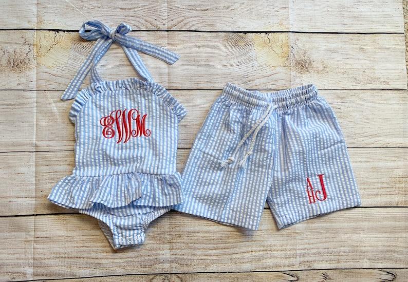 Monogram Swimsuit bikini for baby toddler kids Seersucker brother sister matching bathing suit swim trunks