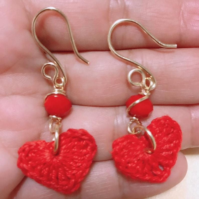 lightweight earrings Valentine\u2019s Day gifts red heart earrings Heart Shaped Crochet Earrings love colors jewel long boho earrings