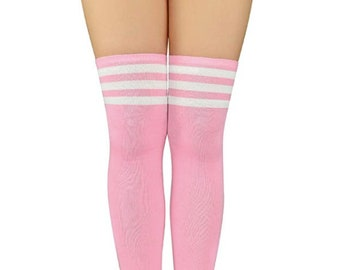 size LARGE /& thigh-high socks Hot Pink Retro Shorts w//White Trim