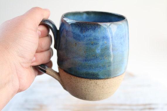 Coffee or tea blue ceramic mug. Ceramic tea mug large . Tea mug. wabi sabi style. For coffee lovers.