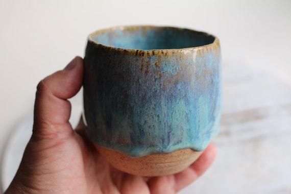 Light turquoise blue pottery coffee handmade ceramic mug no handle  by Kiparuk Art. Coffee ceramic cup handmade. For coffee lovers.