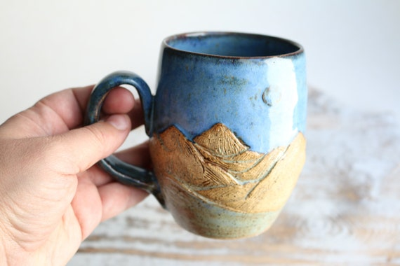 Mountain ceramic mug. Ceramic blue coffee mug . Tea mug. wabi sabi style. For mountain lovers.