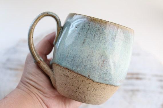 Coffee or tea light green ceramic mug. Ceramic tea mug large . Tea mug. wabi sabi style. For coffee lovers.