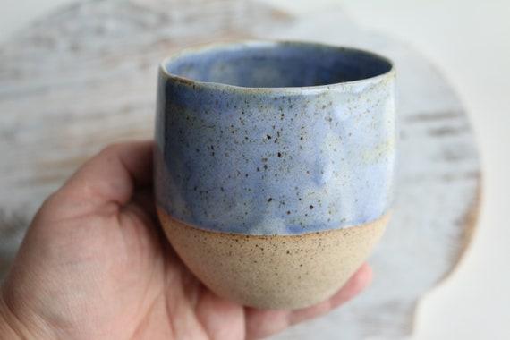 Light blue  pottery coffee mug handmade no handle  by Kiparuk Art. Ceramic coffee cup handmade. Wine cup. For coffee lovers.