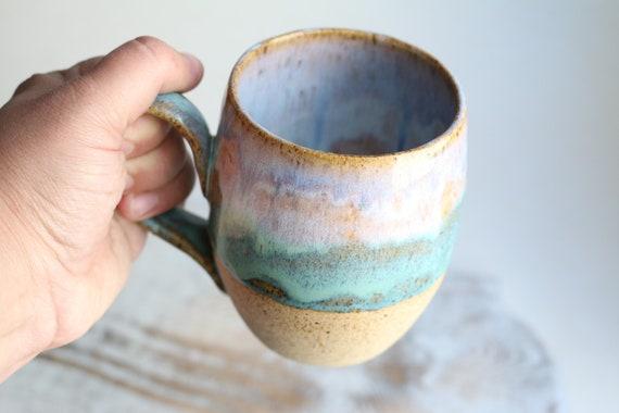 Coffee mug handmade light blue and green . Ceramic  mug large . Tea mug. wabi sabi style. For coffee lovers.