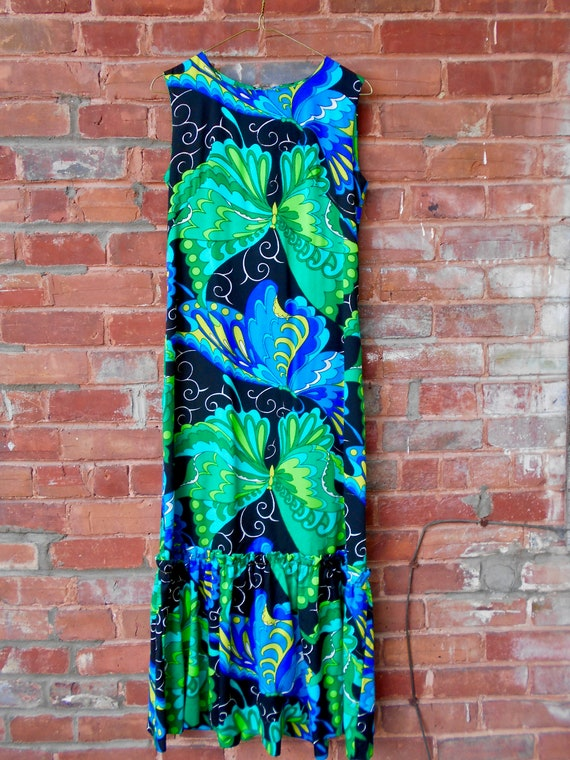 Psychedelic Butterfly Print Maxi Dress with Ruffl… - image 7