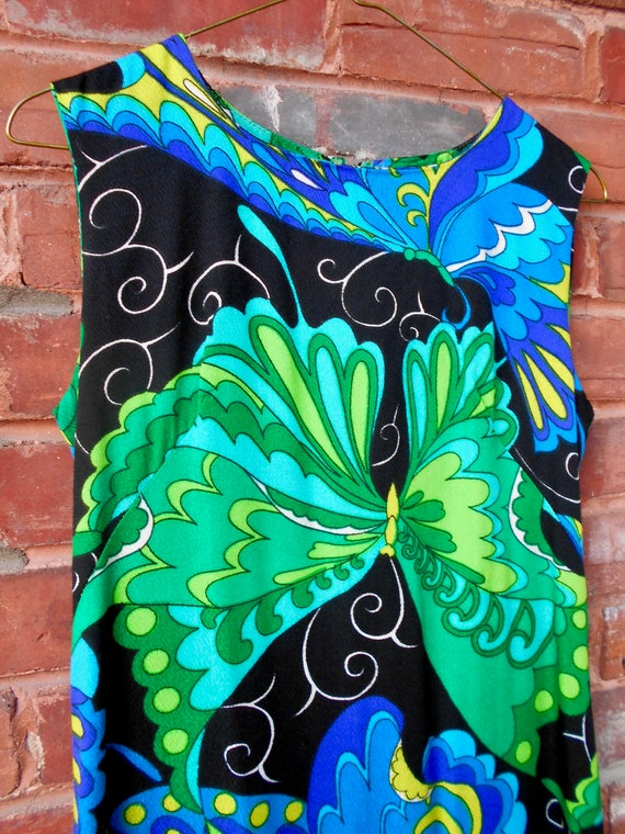 Psychedelic Butterfly Print Maxi Dress with Ruffl… - image 9
