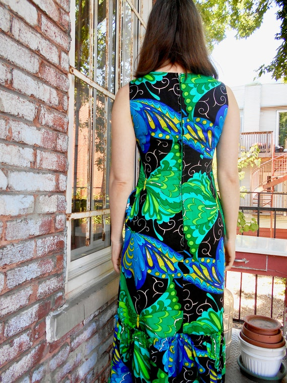 Psychedelic Butterfly Print Maxi Dress with Ruffl… - image 3