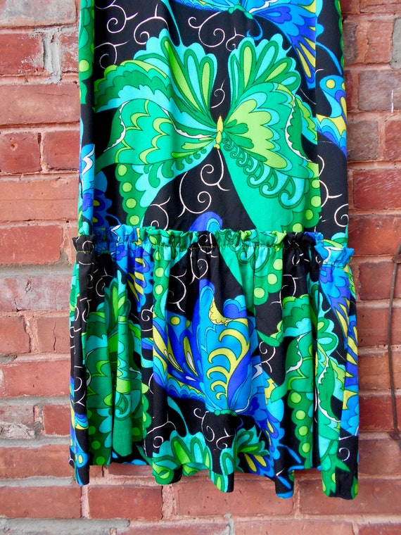 Psychedelic Butterfly Print Maxi Dress with Ruffl… - image 8