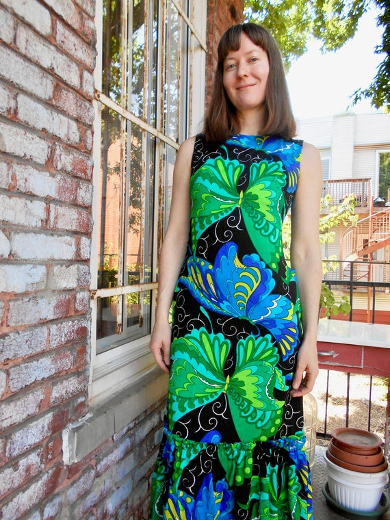 Psychedelic Butterfly Print Maxi Dress with Ruffl… - image 2
