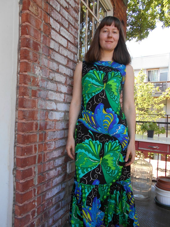 Psychedelic Butterfly Print Maxi Dress with Ruffle