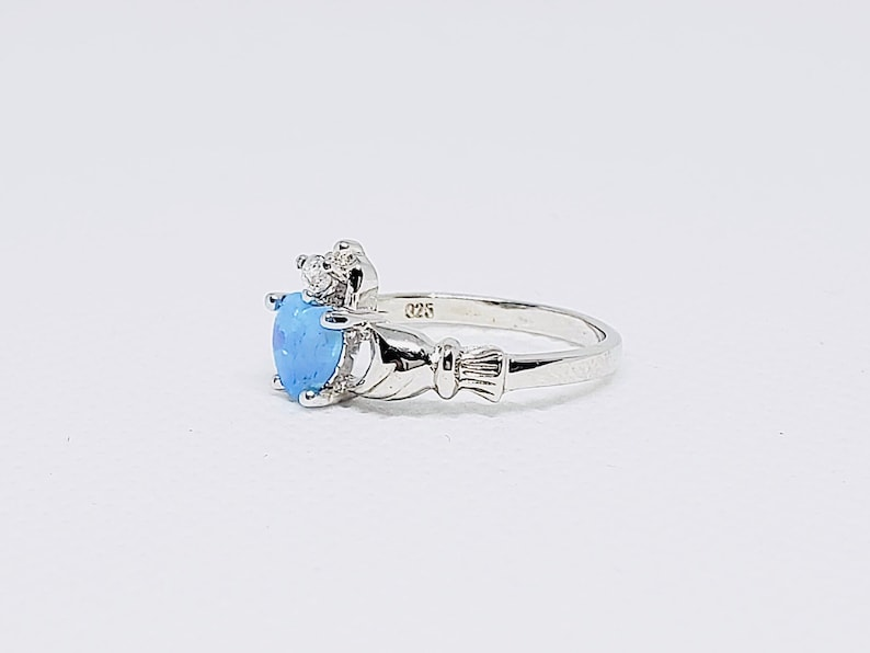 925 Sterling Silver Claddagh Ring With Heart 6mm Opal and 2mm Clear CZ
