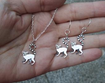 Sterling Silver Lemur Necklace or Earrings