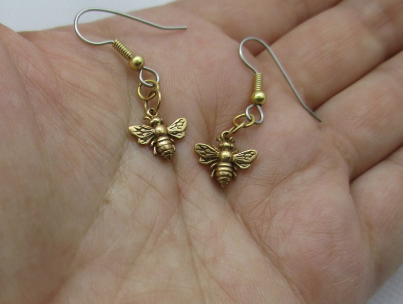 Gold Plated Bee Necklace or Earrings