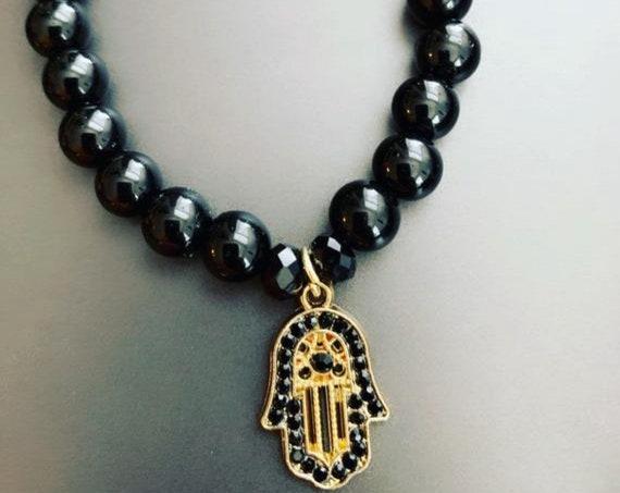 Black & Gold Hamsa Beaded Bracelet