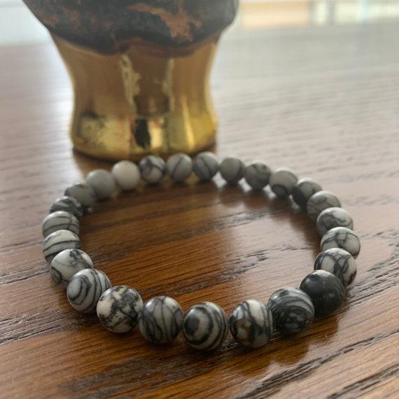 Gray Marble Beaded Bracelet