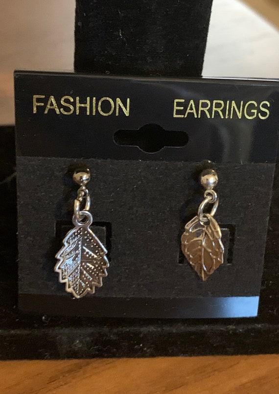 Silver Mixed Leaf Earrings
