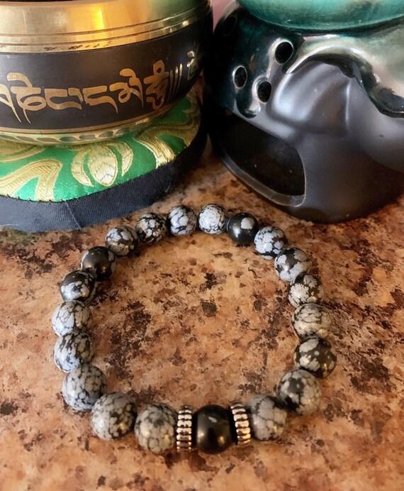 Black and Gray Jasper Beaded Bracelet