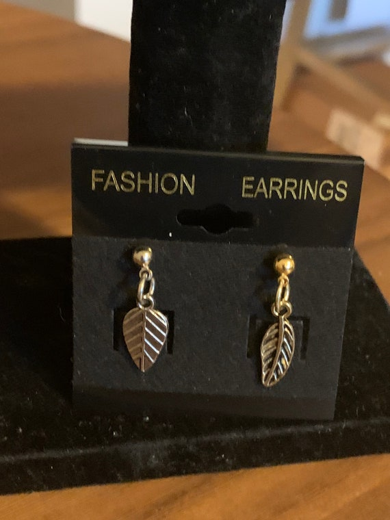 Silver & Gold Mixed Leaf Earrings