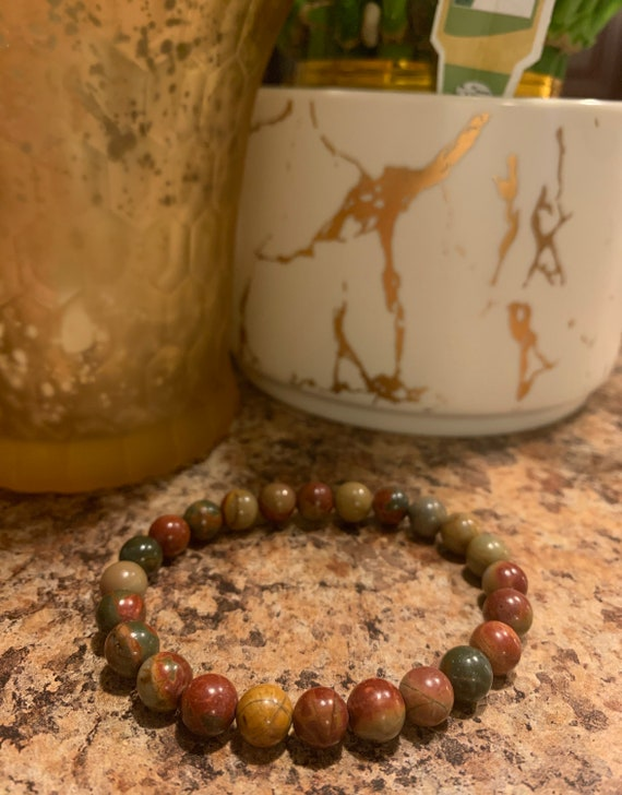 Agate Picasso Colored Beaded Bracelet