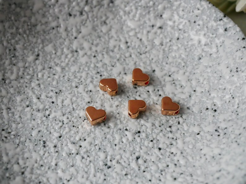 5 pieces heart bead in rose gold  silver  gold  designer quality!