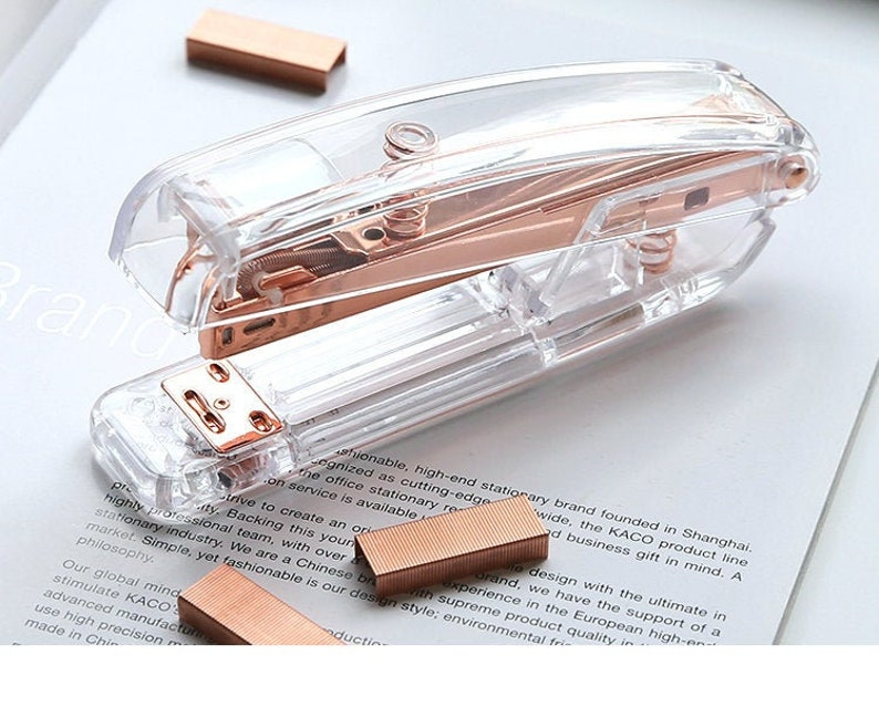 Clear acrylic stapler-rose gold staples refill-rose gold image 1