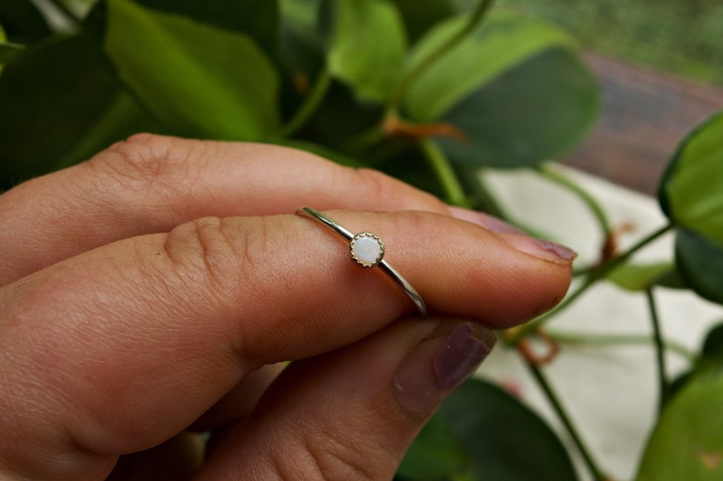 Crescent City inspired white opal collection Ethiopian white opal /& sterling silver handmade ring crescent city