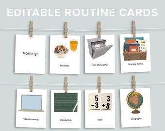 Editable Daily Rhythm Cards Printable Bundle   Morning Evening Routine   Kids Schedule Printable    Homeschool Subject Flashcard