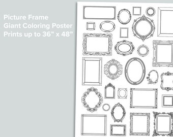 Picture Frames Giant Coloring Poster   Homeschool Printables   Black and White Large Coloring Pages   Artist Color Empty Frame