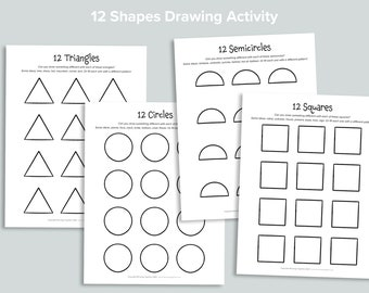 12 Shapes Drawing Activity Simple Coloring Pages   Homeschool Printables Art Exercise   Black and White Printable