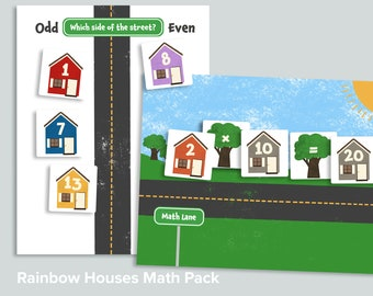Rainbow Houses Math Activity Pack   Homeschool Math Game Printable   Even Odd Math Equations Learning Activity   Number Line Printables