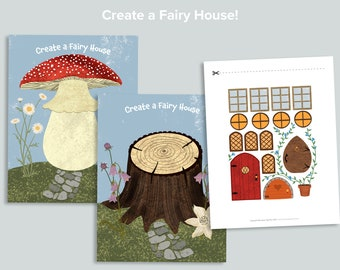 Create a Fairy House Activity   Mushroom Toadstool Nature Shape Busy Book Pages   Homeschool Printables   Preschool Printable Activities