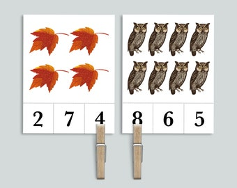 Autumn Count and Clip 1-20 Number Cards   Nature Homeschool Printables   Mushroom, Acorn, Owl Preschool Peg Clothespin Counting Flashcards