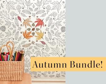 Autumn Bundle   Fall Homeschool Printables   Coloring Poster   Count and Clip 1-20 Number Cards   Nature Mushroom, Acorn, Owl Preschool