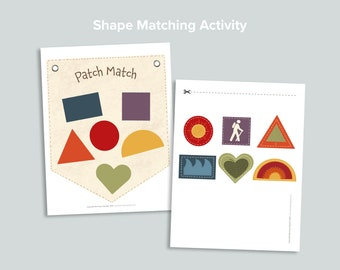 Patch Match Preschool Shapes Matching Activity   Nature Shape Busy Book Pages   Homeschool Printables   Preschool Printable Activities