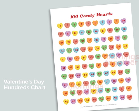 Heart 100 Chart Printable Page  Valentine's Day