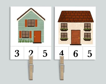 Window Count and Clip Number Cards 1-10   Homeschool Math Game Printable   Houses Preschool Counting Activity