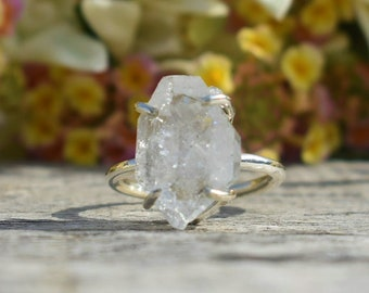 Herkimer Diamond Ring Row Stone Ring Engagement Ring Prong Setting Ring Gift for her Quartz Crystal Ring Herkimer Diamond
