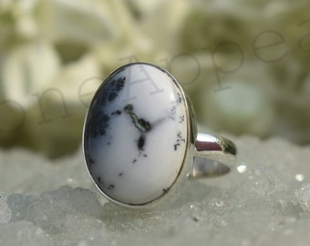Sterling Silver Ring Handmade Jewelry 10x14mm Smooth Cushion Gemstone Rare ! Dendritic Opal Cushion Silver Ring Gold Plated Ring
