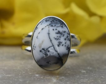 Size 7 Unisex Ring Beautiful Dendritic Ring Handmade Ring Dendritic Opal Ring