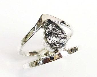 Black Tourmalinated Rutile Ring,Solid 925 Sterling Silver Designer Black Quartz Ring,Gift for her,Black Rutile Quartz Ring,Prong Set Ring