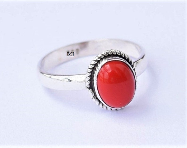 Red Coral Ring 925 Sterling Silver Ring Coral Stone Ring Red Gemstone Red Stone Ring Coral Jewelry