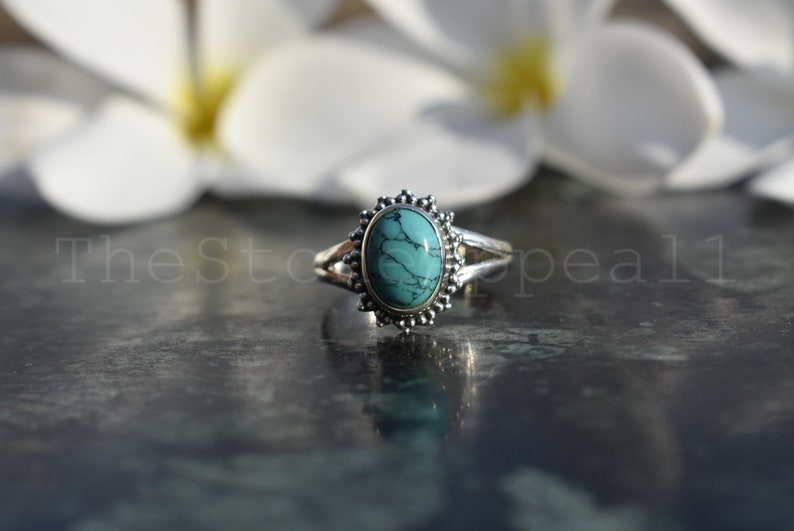 Dainty Ring Promise Ring Friendship Ring Gift Ring Blue Turquoise Sterling Silver Ring Boho Ring Turquoise Jewelry Turquoise Ring