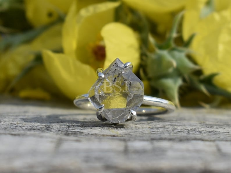 White Color Stone 925 Sterling Silver Made For Her Antique Shape Raw Herkimer Diamond Ring Prong Setting Ring Raw Stone Ring Sale